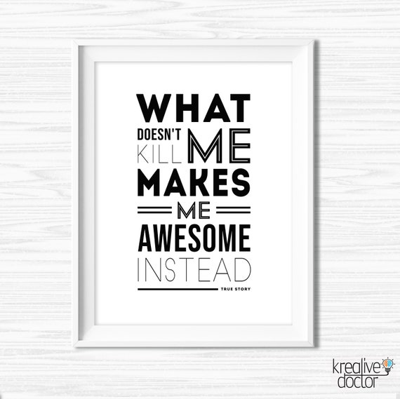 What Doesn\'t Kill Me Quote Print Black And White Prints Printable Office  Wall Art Motivational Wall Decor Gym Quotes Cubicle Decor