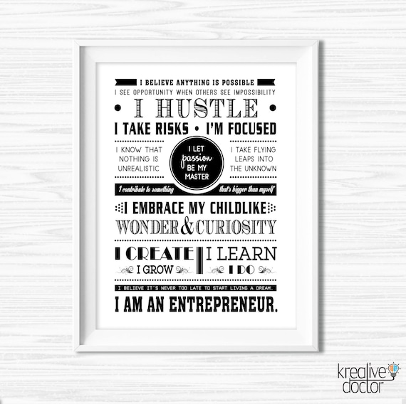 Office Wall Art Quotes For Boss Success Quotes Printable Etsy