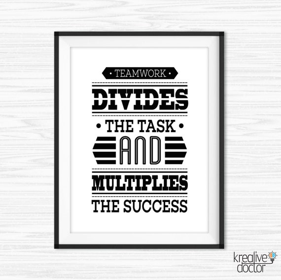 Office Wall Art Teamwork Quotes Printable Success Quotes Etsy