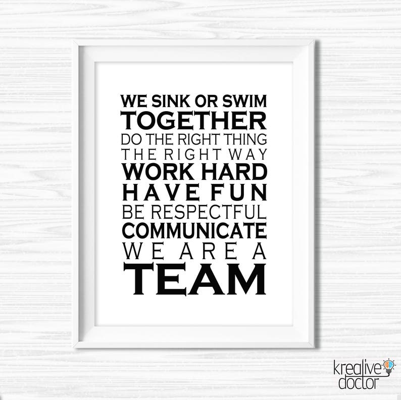 Office Wall Art Printable Teamwork Quotes Office Success Etsy
