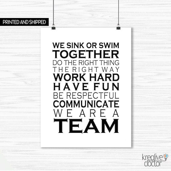 Teamwork Quotes Office Wall Art Print We Are a Team ...