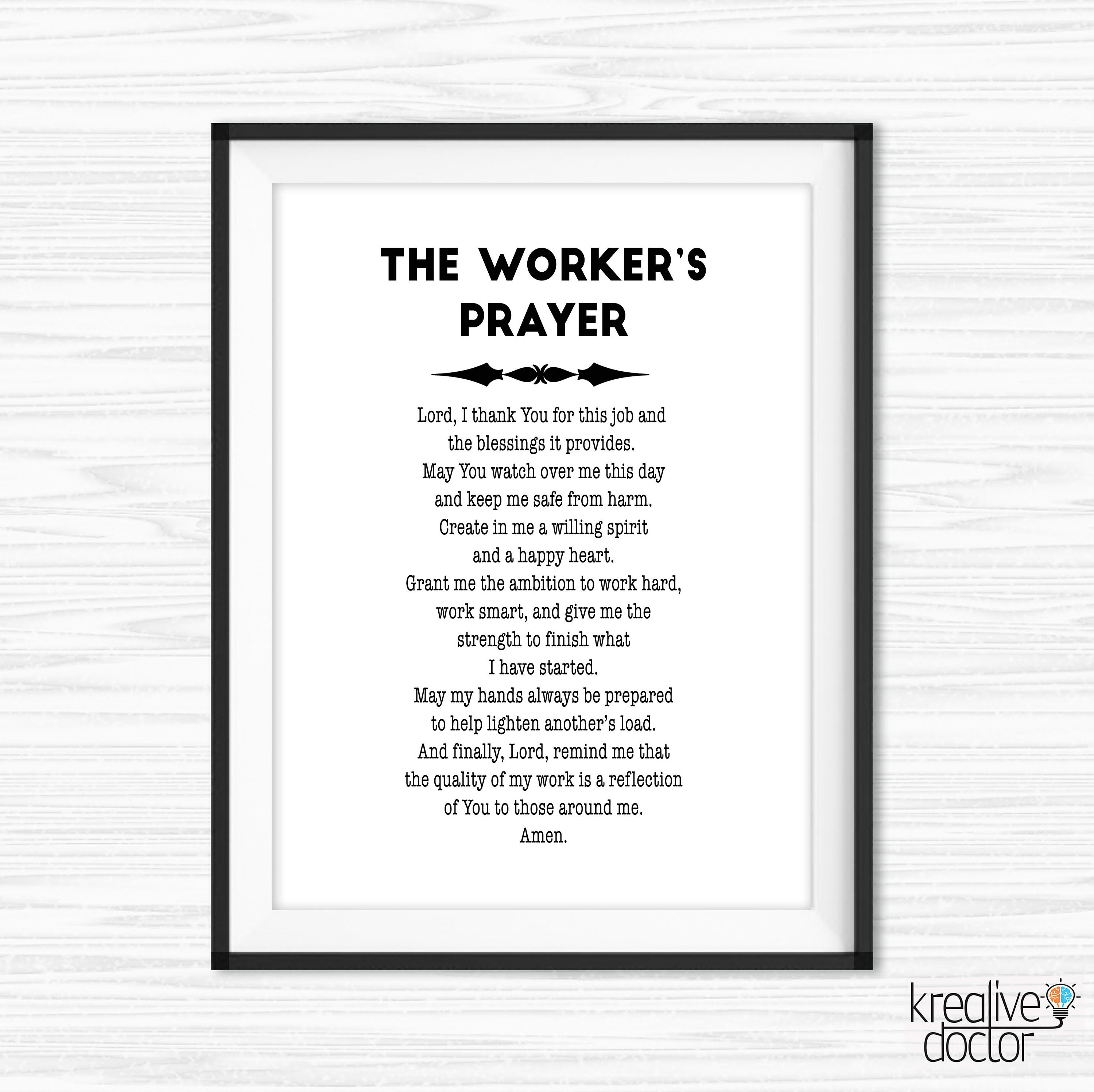 Teamwork Quotes The Workers Prayer Quote For Office Wall Art Etsy