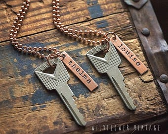 Thelma & Louise Vintage Ford Key Necklace Set | Hand Stamped Vintage repurposed jewelry BFF Sister Best Friend Jewelry Ride or Die gifts