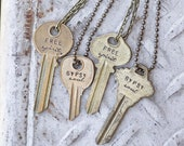 Free Spirit, Gypsy Soul Key Necklace Hand-stamped Repurposed Vintage Boho Bohemian Style