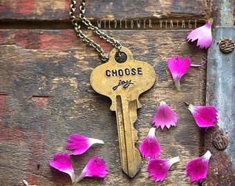 Choose Joy Key Necklace | Hand Stamped Vintage repurposed jewelry script Inspirational Gifts for her