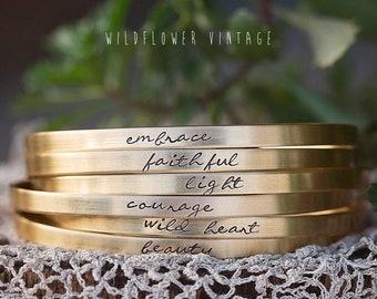 Personalized Cursive Skinny Cuff Bracelet   Custom Name Jewelry for Mom Grandma   Intention Setting