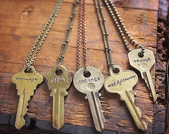Vintage Key Necklace | Fast Shipping | Hand Stamped Custom Personalized Repurposed Giving Personalized Unisex Jewelry Gifts for her
