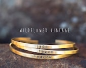 Skinny Personalized Stacking Cuff Bracelet Custom Name Jewelry Valentine 39 s Day Baby Shower Gifts for New Mom Bridesmaid Gift