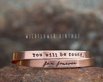 You will be Found Copper Cuff Bracelet | Dear Evan Hansen For Forever Broadway Hand Stamped Gift