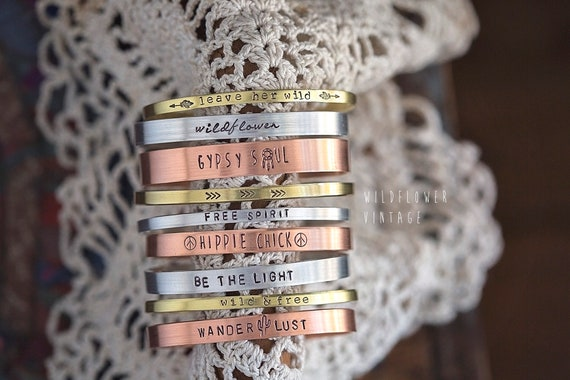 DESIGN YOUR OWN Custom Hand Stamped Cuff Bracelet   Personalized Bridesmaid Gifts for Mom Copper Aluminum Brass Stacking