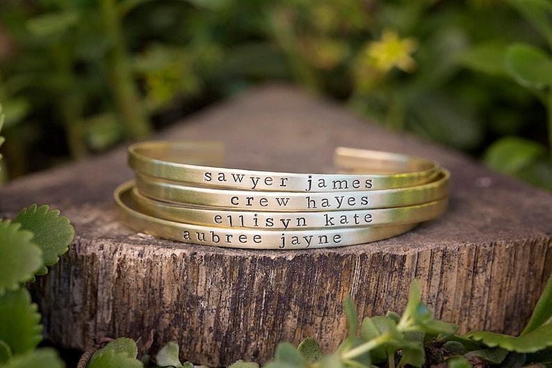 Skinny Personalized Stacking Cuff Bracelet  Custom Kids Name image 1