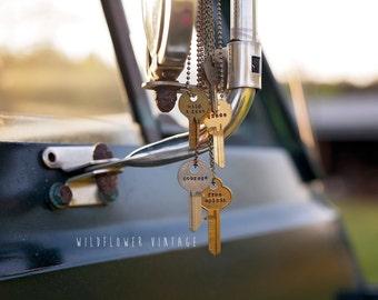 Key Necklace | Lowercase Hand Stamped Vintage Repurposed Uncut