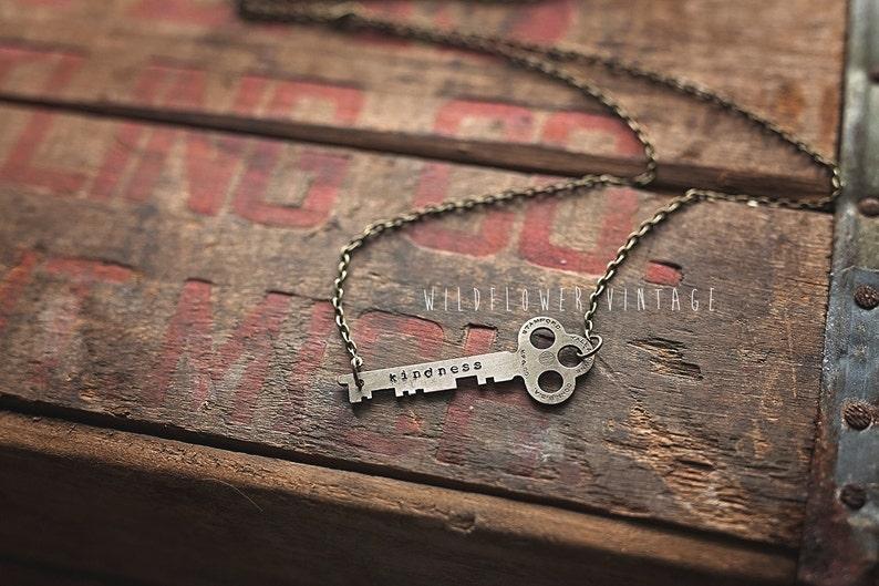 Kindness Key Necklace  Hand Stamped Vintage Repurposed image 0