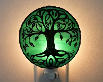 Housewarming Gift For Women - Tree of Life Night Light - Celtic Glass Decor - Stained Glass Night Light - Gift For Her - New Home