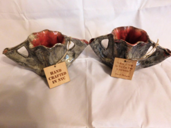 A Pair Of Ceramic Vases From Nyc Made By David Changar Etsy