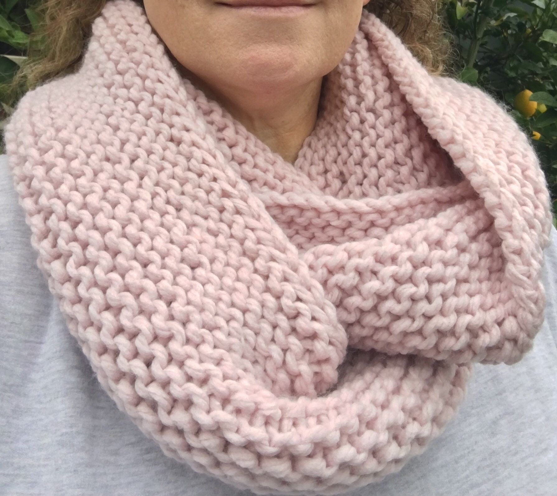 Pattern Knitted Infinity Scarf Scarf Pattern Knit Cowl Etsy