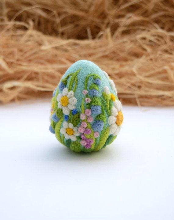 Easter Gift Japanese Iris on Chartruse Sparkly Egg Easter Felt Large Needle Felted Easter Egg Needlefelt Decoration