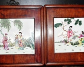 Pair of vintage Chinese rosewood square hanging frames inserted hand painted famille rose opera noble figurines porcelain 粉彩西厢记人物掛屏