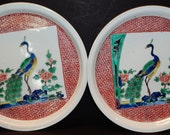 Pair of Antique Japanese Meiji period porcelain bowls w. Chinese styled phoenix Longevity sign on bottom