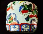 Antique Chinese Ming Dynasty Imperial Wucai porcelain panel insert jewelry box ( 明代出土官窑五彩标本瓷片