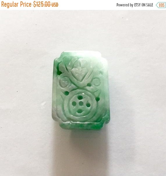 30/% off Antique Chinese late Qing Dynasty natural greenish white jadeite jade pendant or brooch