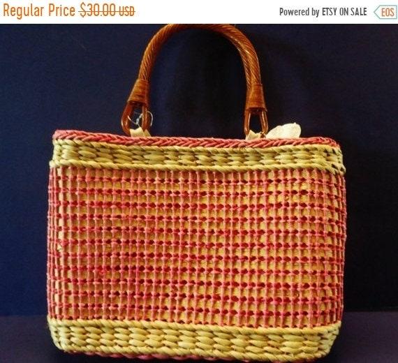 onsale 242--sac à main en hawaïen naturel paille tissée de lady w. fibre tissu fermeture éclair & poignée en osier