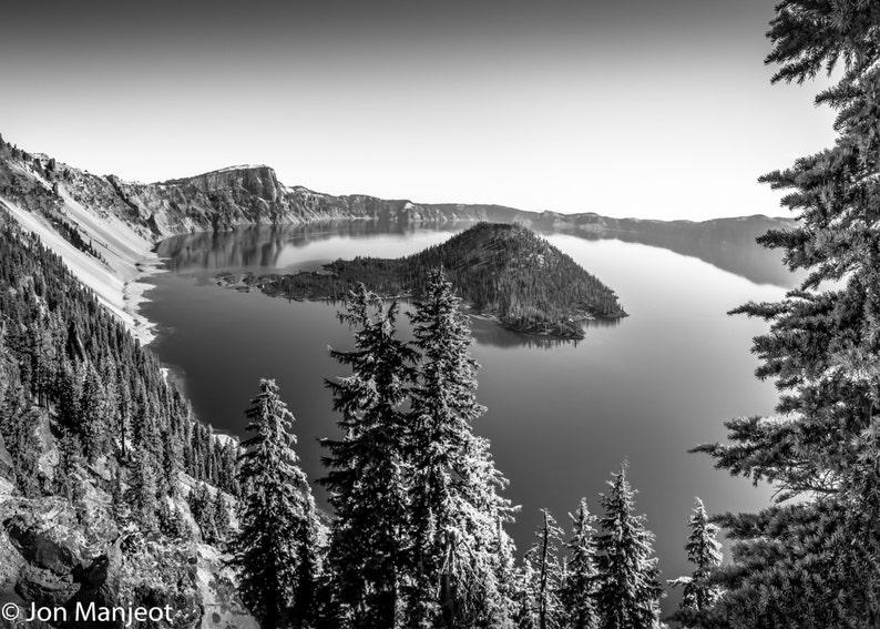 Fine Art Print - Amazing Crater Lake - Oregon Scenery - black & white  scenic photograph, gift ideas, present, home office wall decor