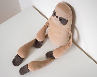 Stuffed sloth animal. Plush toy. Beige soft sloth. Sloth plushie. Cute smiling sloth. Nursery decor. Gift for children, kids, sloth Lover.