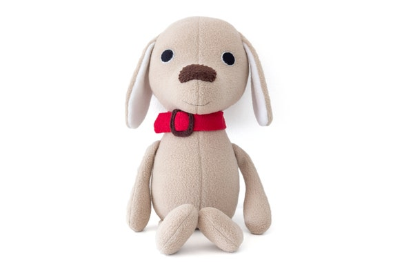 Gift for children dog lovers. Smiling puppy plush toy Stuffed dog animal Plush puppy Soft beige toy dog with collar Cute stuffed doggie