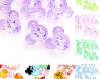 65pcs Acrylic Beads Pearlized Teardrop Spacer DIY Jewelry Making 10x6x6mm White