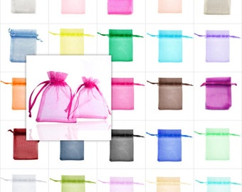 25pcs Organza Bag Rectangle Jewelry Wedding Favor Candy Gift Packing Pouch, 25 Colors, 7 Sizes, V-BB0011-BB0017