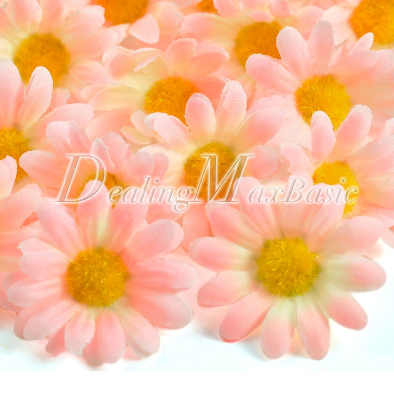 50pcs Silk Gerbera Daisy Bridal Clips Wedding Decor Artificial Fake Flower Heads