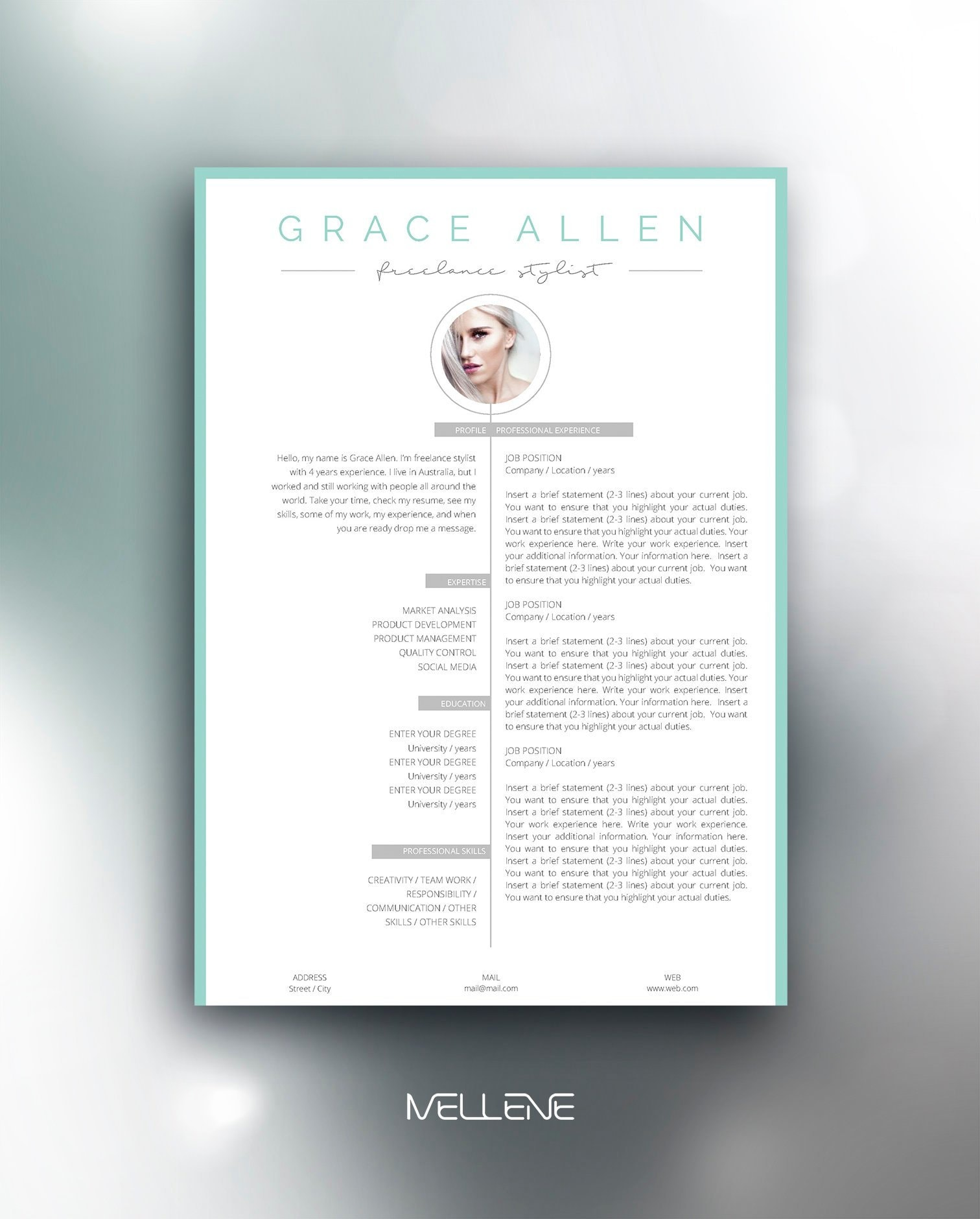 Resume Template 3 page / CV Template Cover Letter / Instant | Etsy