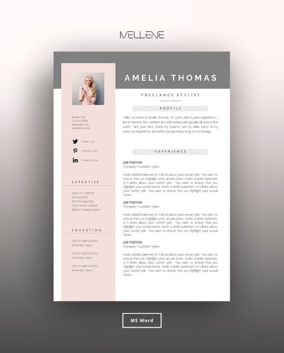 Resume Template 3 page / CV Template + Cover Letter / Instant Download for  MS Word / \