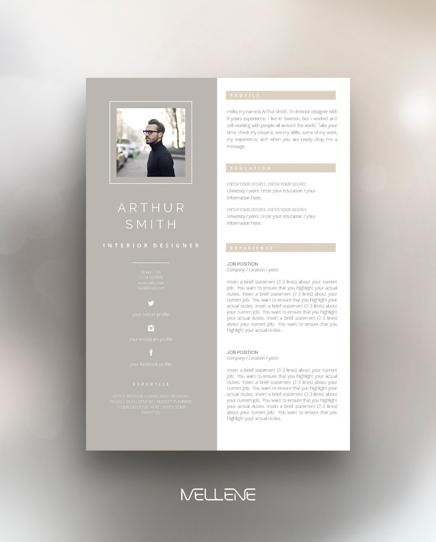 Resume Template 3 Page CV Template Cover Letter Instant Download For MS Word Arthur