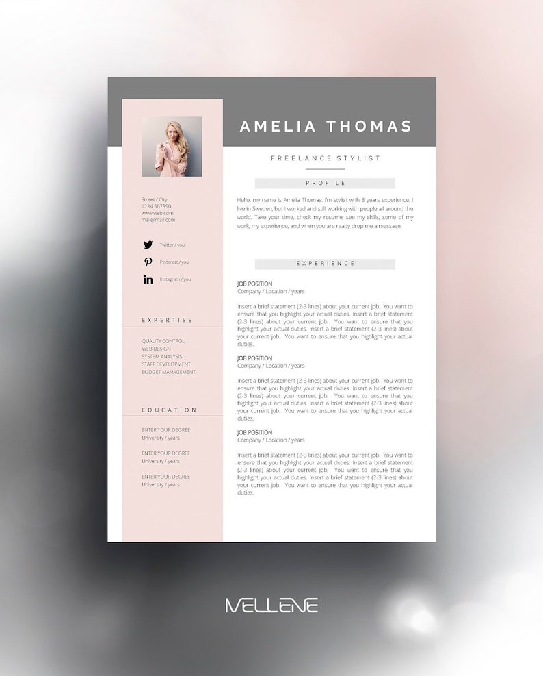 Resume Template 3 Page CV Cover Letter Instant