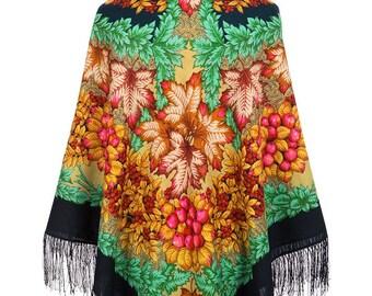 54b8322c3049 châle russe 146 cm laine franges soie authentique Pavlovo Posad neuf