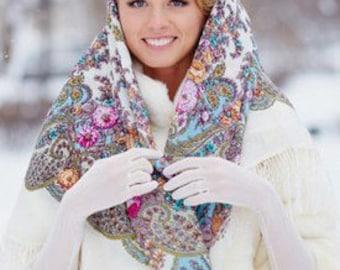 châle foulard russe 125 cm en laine franges soie authentique Pavlovo Possad  neuf aa3f9111b73