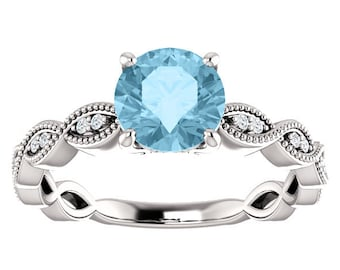 Vintage Inspired Round Aquamarine Milgrain Marquise and Dot Diamond Engagement Ring - Scalloped Milgrain Band