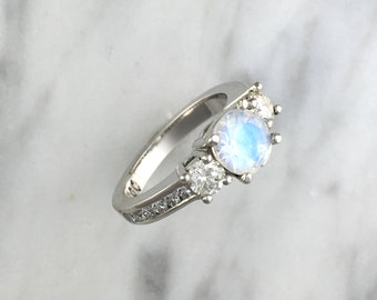 Three (3) Stone Round Blue Rainbow Faceted Moonstone w/ Accent Diamonds in Platinum Setting - Alternative Engagement Ring - 14K White Gold