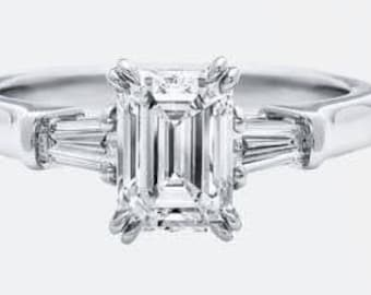 Forever One Emerald Cut Moissanite 3 Stone Ring in Platinum - Claw Prongs - 8 Prong Setting - Double Claw Setting - Baguettes