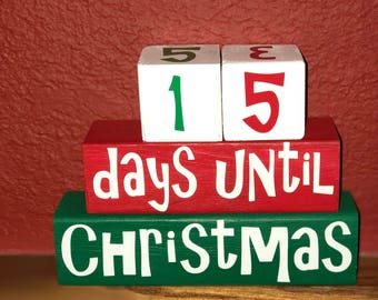 christmas countdown blocks christmas decor holiday decorations 25 days until christmas red and green countdown blocks christmas block - Countdown Till Christmas Decoration
