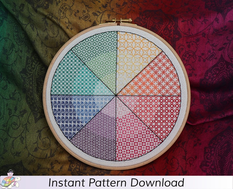Coloured Blackwork Circle Pattern Instant Download PDF image 0