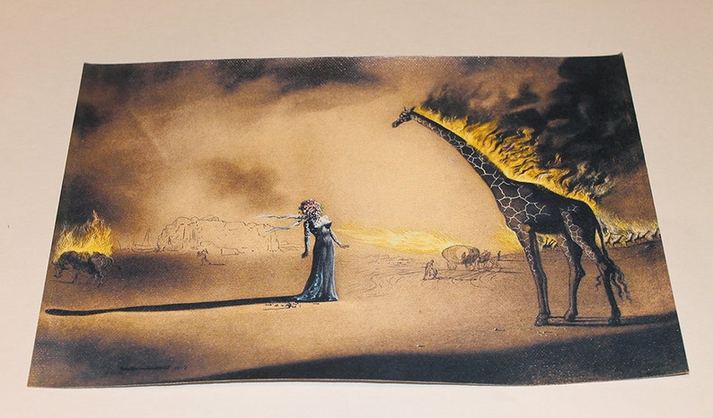 Home Decor Print Oil Painting on Canvas Wall Art,Salvador Dali Giraffe and Phone 20x32inch,Framed