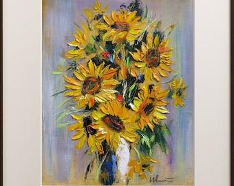 Sunfloiwers Print, Sunflowers Painting, Sunflowers Wall Art, Floral Print, Modern Sunflowers Decor, Wall Art Print, Fine Art Print, Flowers
