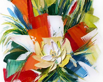 Abstract flower painting, Fine art giclee print, Colorful Flower print, Flower Wall art, Abstract print, Oil painting print, Flower artwork