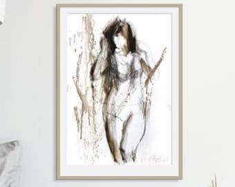 Charcoal woman Sketch, Original drawing, Nude Woman sketch, Figurative sketch, Graphic artwork Wall Decor, Female Modern Wall art sketch