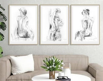 Wall Art Prints Set Of 3 Prints Black And White Prints Nude Wall Art Bedroom Wall Decor Charcoal Drawing Nude Woman Prints Body Print