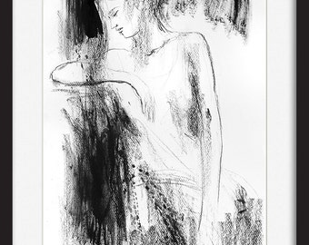 Charcoal sketch, Art print, Figurative Drawing, Modern Wall art, Graphic art, Black and white, Wall decor, Woman art sketch, Female Figure