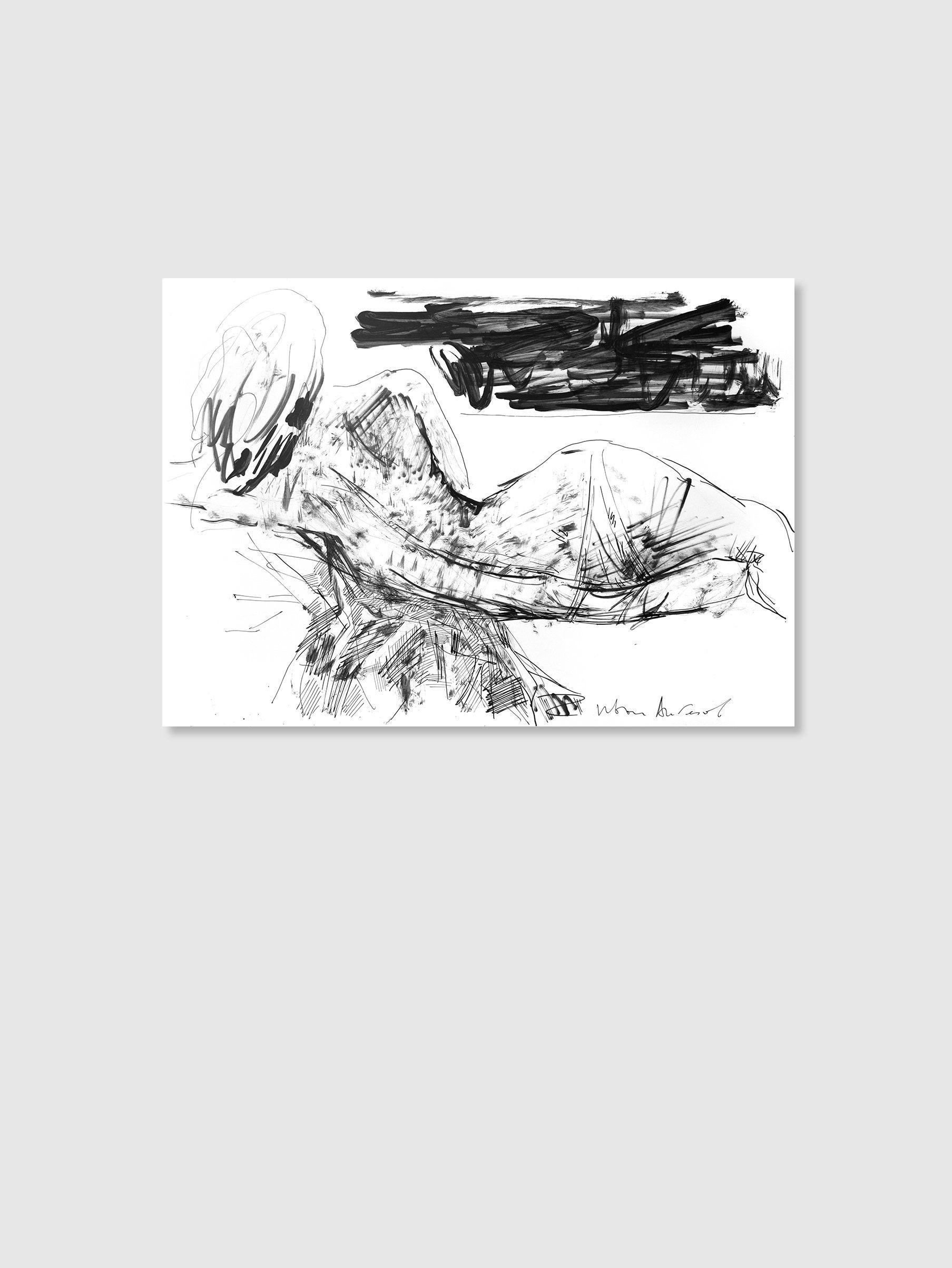 Nude Ink Abstract Painting Minimal Black Wall Art - Kogan.com